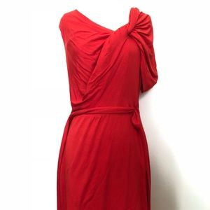 Trina Turk Red Detailed Shoulder Cocktail Dress